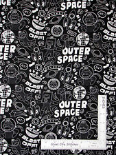 Sock Monkey Outer Space Motif Black White Cotton Fabric Windham #41171 - Yard
