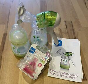 MAM Milchpumpe/Handmilchpumpe mit zwei Flaschen und 1 neuen Sauger Ab 0 Monate