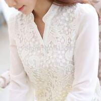 New Women Lace Beading Crochet White Long Sleeve Chiffon Blouse Shirt Feminine
