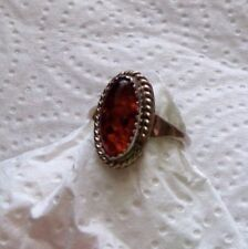 Sterling Silver sawtooth bezel AMBER Ring artist signed CT size 9