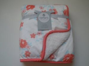 NWT Carters Roses Floral Flowers Velour Sherpa Pink White Baby Girl Cozy Blanket