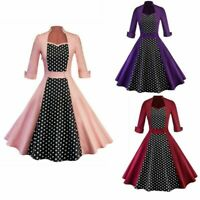 US Women Vintage 50's Polka Dot Pinup Short Sleeve Party Rockabilly Swing Dress