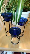 Partylite 3 Blue Glass & Wrought Iron Tealight Candle Holders
