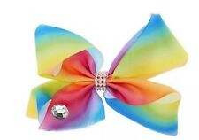 "Girls Rainbow Hair Bow Clip 8"" Big  XL Diamante Gem Dance School FAST UK SELLER"