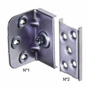 Bed Connecting / Connector Corner Fixing Brackets - Steel - Plate System - 65mm
