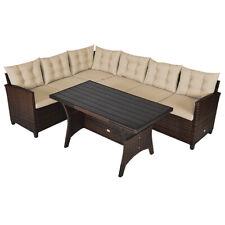 3Pcs Rattan Dining Set Patio Furniture 6 Seats Sofa Cushioned Garden Yard
