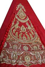 Vintage Indian Hand Bead Rhinestone Red Color Lehanga Patch Art Craft 1Free On 5