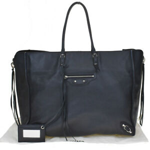 Authentic BALENCIAGA Paper Shoulder Tote Bag Leather Black Mirror Italy 82MD274
