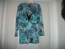 BEAUTIFUL IN TEAL BLACK & WHITE RIBBED ROMANTIC LOWCUT BLOUSE, LG