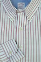 Brooks Brothers Men's White Red Pinpoint Stripe Cotton Casual Shirt L Large