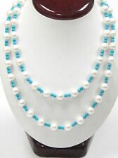 186 TCW Natural Fresh Water Turquoise Pearl String Necklace 14k 30' Long