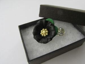 Handmade Unusual Fimo Black Poppies Flower Brooch Lapel Pin - Handmade in UK