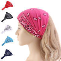 Women Elastic Print Head Wrap Cotton Headwear Hairband Yoga Headband Turban