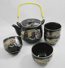 Japan Black Teapot 4 Tea Cups Set Dragon Design Wrapped Bamboo Handle Asian