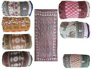 Indian Cotton Floral Hand block Print Blanket Twin Jaipuri Quilt Rajai Comforter