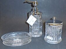 HOTEL BALFOUR 3 PC CLEAR 3D GLASS CRYSTAL VERTICAL CUT SOAP DISPENSER+DISH+JAR