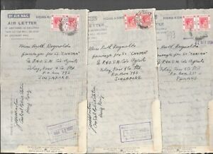 MALAYA SINGAPORE / HONG KONG 1950 3 AIR LETTERS ADDRESSED TO ISLAY KERR RECEIVED