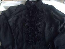 chemise voile noir froncee coudes et fleurs façon jabot 36/38