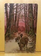 A5) METALLIC Postcard WILD BOAR FAMILY pigs tusks dirt road path woods beautiful