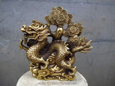 "9""China Fengshui pure Brass Copper Lucky money Coin Wealth tree Dragon statue"