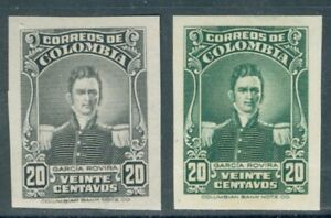 Colombia 1944, 20c Rovira, IMPERF PROOF, from American Banknote archives, #500