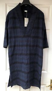 BNWT POETRY BLUE/BLACK WOOL BLEND KNEE LENGTH OVERSIZED SHIFT DRESS - UK 6