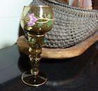 Bohemian MOSER Olive Hand Painted Enamel Goblet / Wine Challis Applied Rosettes