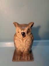 "Owl Cast Iron Sill Bank ""Vindex Toys"" 4 1/4"" USA 1930's Pristine"