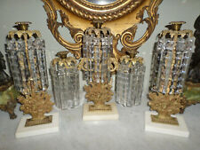 "Antique Three Piece Girandole Set with Marble Base & Huge 7"" Long Crystal Prism"