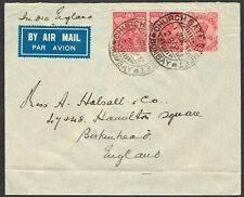 1935 India Air Mail BOMBAY CHURCH GATE STREET 2x KGV 3as Red 1x KGV 1 1/2as Red