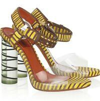 Missoni Crochet-Knit & Perspex Yellow & Brown Sandals Sz 40.5 U.S 10.5 EUC