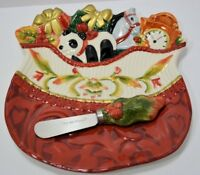 Fitz & Floyd Woodland Holiday Snack Plate with Spreaders