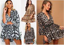 Layla Snake Leopard Printed Plunge Neck Flute Sleeve Smock Shift Dress RRP 36.99