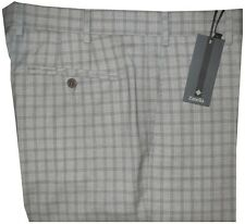 $475 NEW ZANELLA PLATINUM GRAY TONES PLAID SUPER 120'S WOOL DRESS PANTS 34