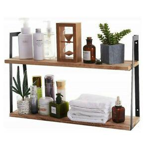 Heavy Duty Wall Floating Wood Shelves Home Decor Shelving Unit Bookshelf 60cm