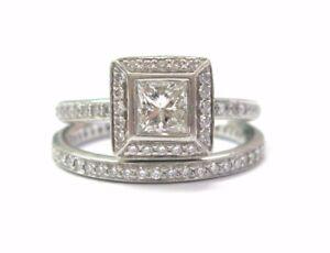 Ritani Platinum Princess Cut NATURAL Diamond Engagement Wedding Set 1.05CT