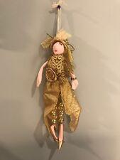 Vintge Doll, Cloth, Textile, Folk Art, Wall Hanging, Gold Fabric, Gold Bead Legs