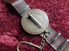 Serial 0P- Punk Leather Strap and Brass Sundial Wrist Watch -Adjustable