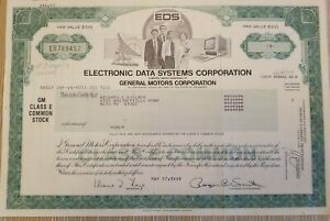 Electronic Data Systems a General Motors Company  1985 stock certificate