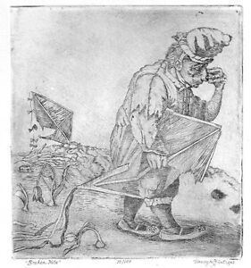 """""""Broken Kite""""copper engraving by Henryk Fantazos,limited edition 100,"""
