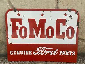 "Vintage ""FORD FOMOCO"" Porcelain Genuine Parts Enamel Sign 13.5""x18"" Double-Sided"