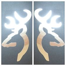 2 NEW CHROME BROWNING DEER BUCK DOE DECAL STICKER LOGO BADGE EMBLEM HUNTING