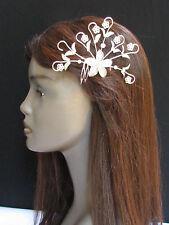 NEW WOMEN BIG SILVER HEAD METAL FLOWERS PIN FASHION HAIR LEAVES RHINESTONES
