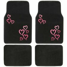 New 4pc Set Pink Hearts Love Car Truck Front Back Carpet Floor Mats by BDK USA