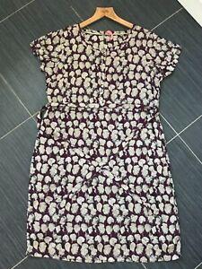 Women's WHITE STUFF Burgundy Abstract Pattern Lined Dress (UK16)