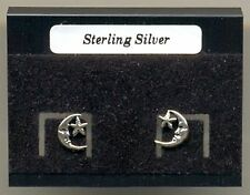 Moon & Star Sterling Silver 925 Studs Earrings Carded