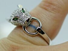 PANTHER LEOPARD HEAD RING CUBIC ZIRCONIA STERLING SILVER RING 925