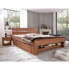 Futonbett Bett Kernbuche Massiv geölt 180cm inkl. 4 Bettkästen + Fussteilregal