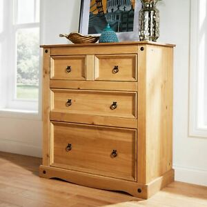 Chest of Drawers 2+2 Drawers Solid Pine Furniture Corona