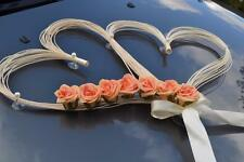 wedding car decoration ribbon bows prom limousine decoration  coral r hearts